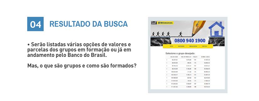 RESULTADO DA BUSCA - Serão listadas várias opções de valores e parcelas dos grupos em formação ou já em andamento pelo Banco do Brasil. Mas, o que são grupos e como são formados?